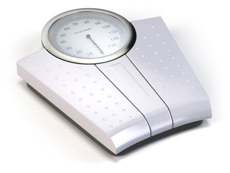 weight loss: Bathroom weight scale isolated on white. 3d Stock Photo