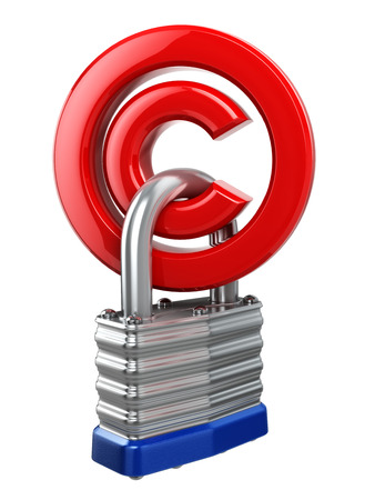 copyright symbol: Copyright symbol with lock. Protection concept. 3d