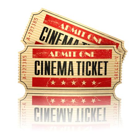 admit one: Retro cinema tickets isolated on white. 3d Stock Photo