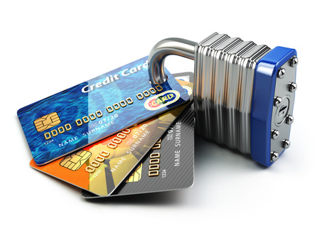 Secure payment internet online shopping concept.. Credit cards and padlock. 3d Foto de archivo