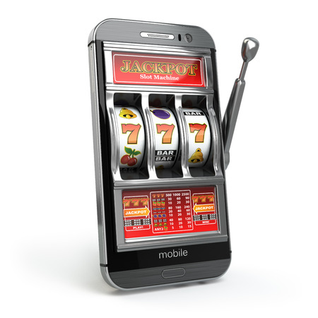Online casino concept. Mobile phone and slot machine with jackpot. 3d Archivio Fotografico