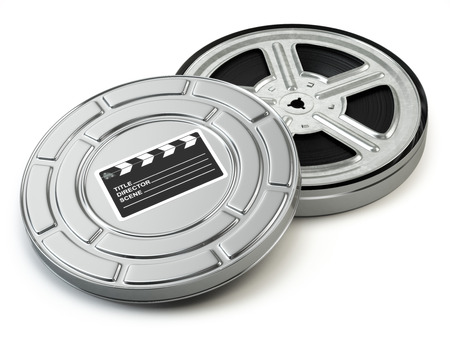 Film reel and box. Video, movie, cinema vintage concept. 3d Stock Photo