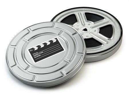 cinta pelicula: Rollo de película y la caja. Vídeo, película, el concepto de cine de la vendimia. 3d Foto de archivo