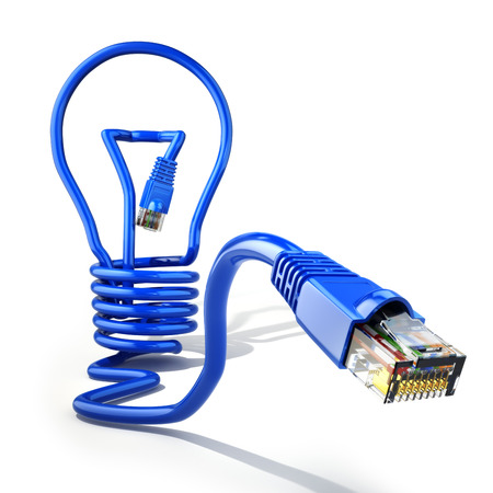 Start up internet business idea concept. Light bulb and lan cable. 3d