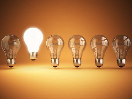 Idea or uniqueness, originality concept. Row of light bulbs with glowing one on orange background, 3d