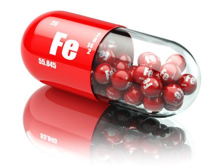 Pillen mit Eisen FE Element Nahrungsergänzungsmittel. Vitamin-Kapseln. 3d