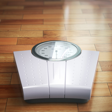 grey scale: Weight scale on the wooden floor. Space for text. 3d