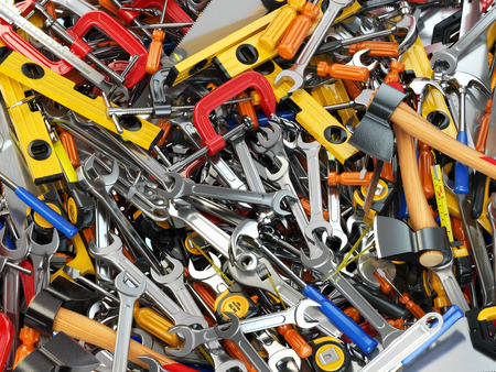 hardware tools: Tool background. Heap of different tools. Workshop. 3d