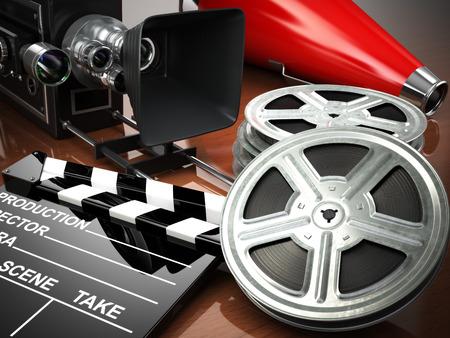 cine: Vídeo, película, el concepto de cine de la vendimia. Cámara retra, tambores y claqueta. 3d