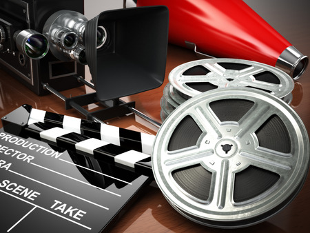 hollywood movie: Video, movie, cinema vintage concept. Retro camera, reels and clapperboard. 3d