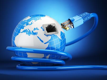 인터넷 글로벌 COMUNICATION 개념입니다. 파란색 배경에 지구와 이더넷 케이블을 연결합니다. 3 차원