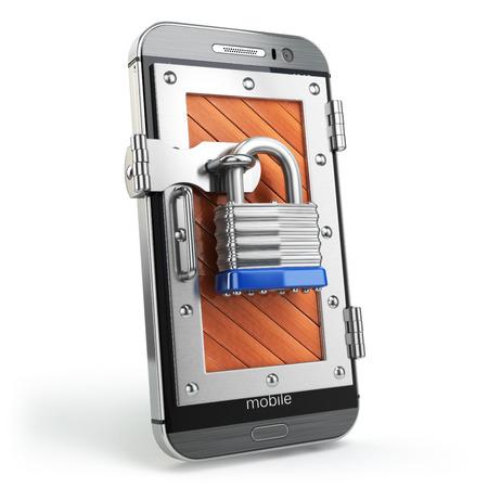 Mobiele beveiliging of de bescherming concept. Smartphone met hangslot. 3d