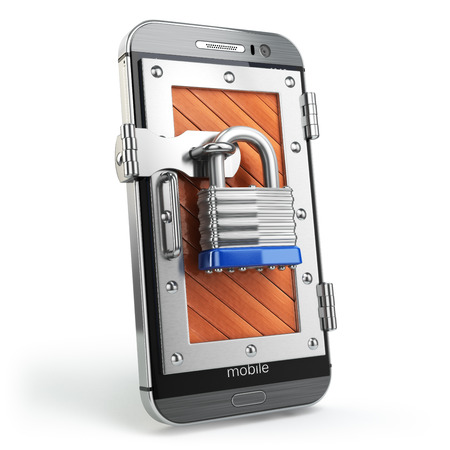 Mobile security or protection concept. Smartphone with padlock.  3d