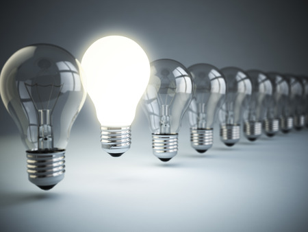 originality: Idea or uniqueness, originality concept. Row of light bulbs with glowing one on blue background, 3d