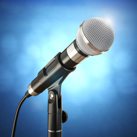 Microphone on the blue abstract background. 3d