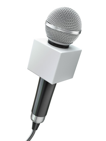 Microphone isolated on white. Caraoke or news concept. 3d Stock Photo