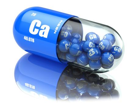 Pills with calcio CA element Dietary supplements. Vitamin capsules. 3d