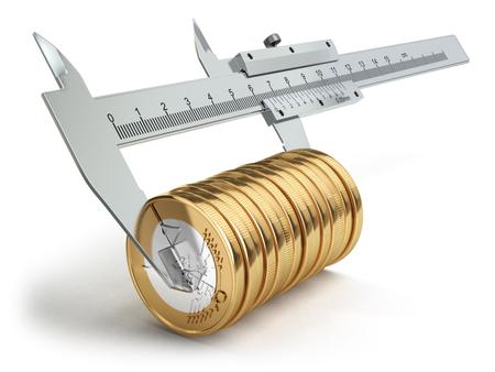 Small salary concept. Caliper measuring coins euro. 3d