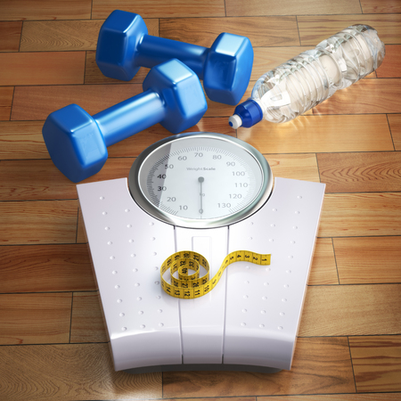 Fitness and weight loss concept. Weigh scales, dumbells and measuring tape. 3d Stock Photo