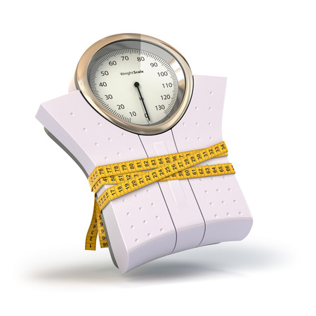 Weighting scales with  measuring tape. Diet concept. 3d Stock Photo