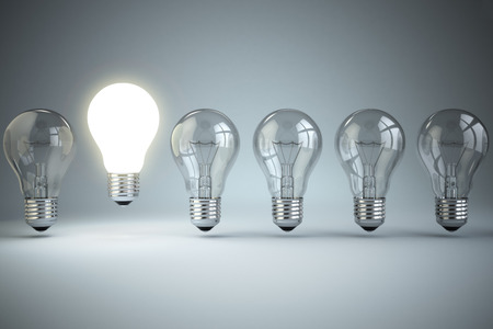 originality: Idea or uniqueness, originality concept. Row of light bulbs with glowing one. 3d