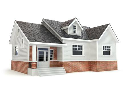 Huis geïsoleerd op wit. Onroerend goed concept. 3d Stockfoto - 45111443