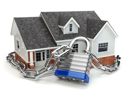 in chains: Concepto de seguridad de Inicio. Casa con candado y cadena. 3d Foto de archivo