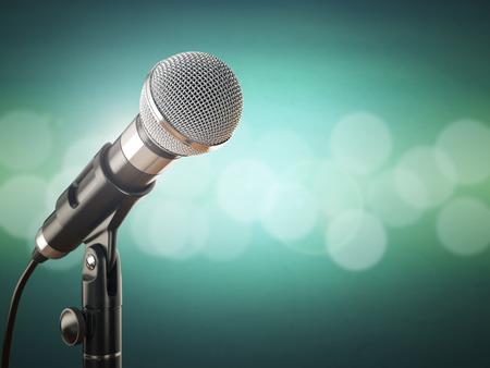 microfono antiguo: Micrófono en el fondo abstracto verde. 3d