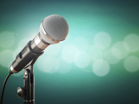 Microphone on the green abstract background. 3d