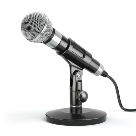Microphone isolated on white. Caraoke or news concept. 3d Foto de archivo