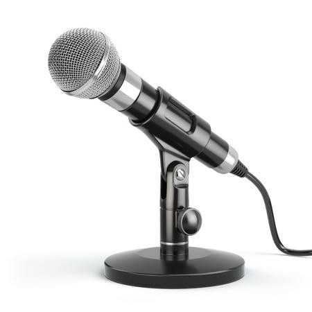 Microfoon die op wit. Caraoke of nieuws concept. 3d