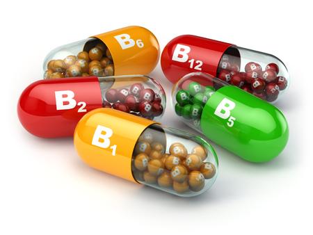 Vitamine B. Capsules B1 B2 B6 B12 op een witte achtergrond geïsoleerd. 3d Stockfoto