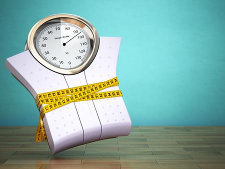cintas: Ponderación escalas con cinta métrica. Concepto de la dieta. 3d Foto de archivo