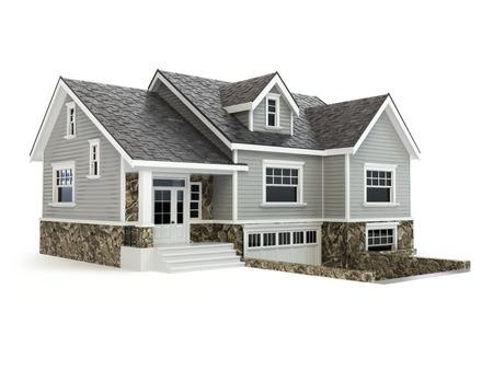 Haus isoliert auf weiß. Immobilien-Konzept. 3d Standard-Bild - 45691691