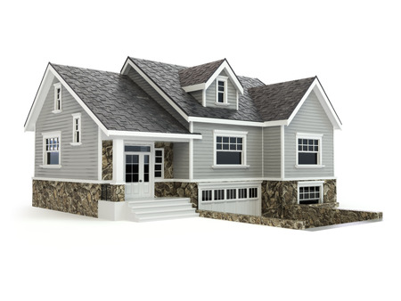 garage on house: House isolated on white. Real estate concept. 3d