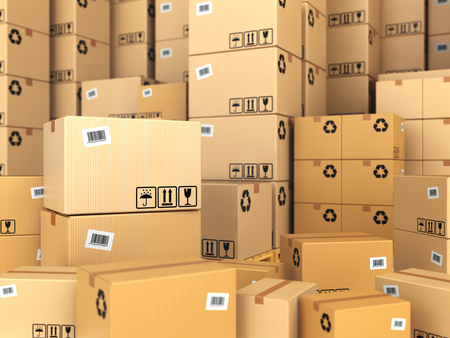 distribution box: Warehouse or delivery concept. Cardboard boxes background. 3d Stock Photo