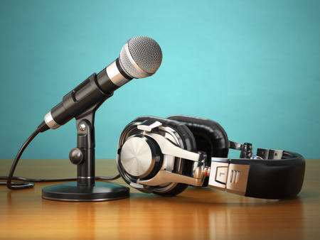 commentator: Microphone and headphones. Audio recording or radio commentator concept. 3d Stock Photo