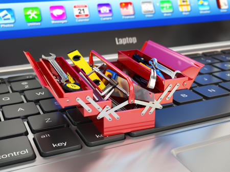tools: Laptop and toolbox with tools. Online support. 3d Stock Photo