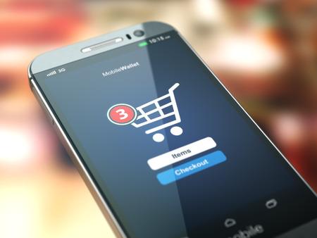 shopping: khái niệm mua sắm trực tuyến. điện thoại di động hoặc điện thoại thông minh với giỏ hàng trên màn hình. 3d