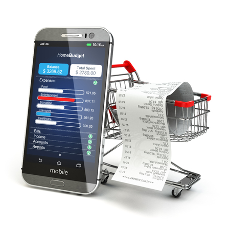 money wallet: Mobile home budget application concept. Smartphone with shopping cart. 3d Stock Photo