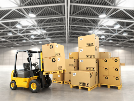 storage facility: Forklift truck in warehouse or storage loading cardboard boxes. 3d Stock Photo