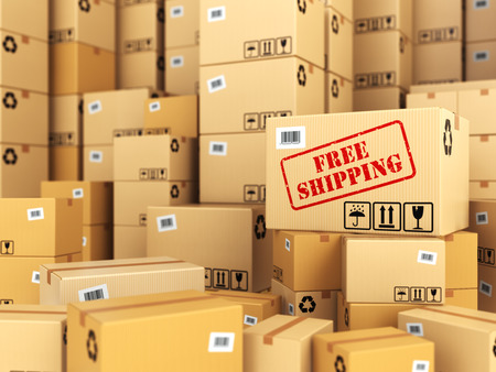 ship sign: Free shipping or delivery. Cardboard boxes background. 3d