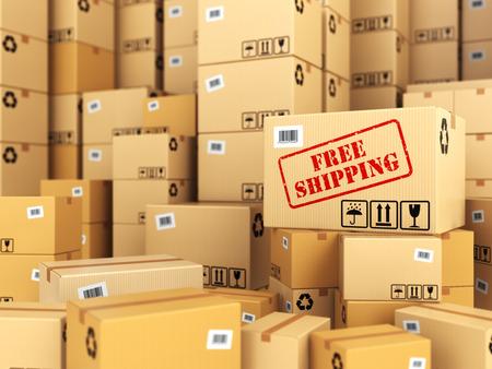 szállítás: Ingyenes szállítás vagy a szállítás. Kartondobozok háttérben. 3d