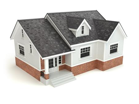 家は、白で隔離。不動産の概念。3 d