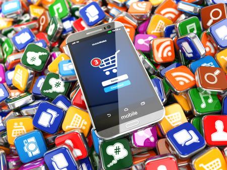 テクノロジー: スマート フォンのアプリ。アプリケーション ソフトウェアのアイコン背景に携帯電話。3 d