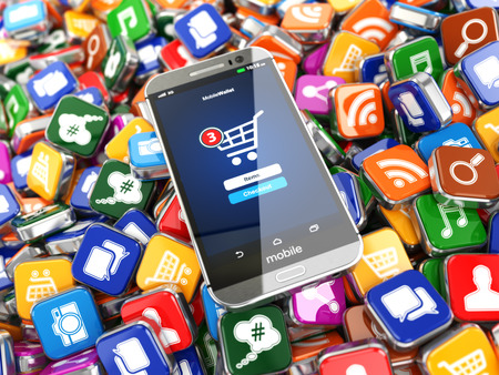 技術: 智能手機應用程序。在應用軟件的圖標背景的手機。 3D 版權商用圖片