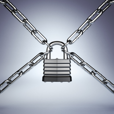 restrain: Security concept. Lock and chain. Under protection. 3d
