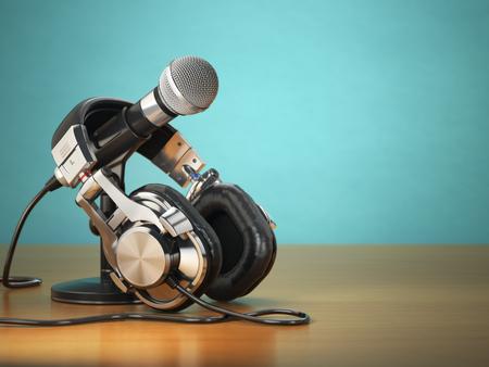 auriculares: Micrófono y auriculares. La grabación de audio o concepto comentarista de radio. 3d Foto de archivo