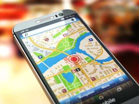 car navigation: Mobile GPS navigation concept. Smartphone with city map on the screen. 3d Stock Photo