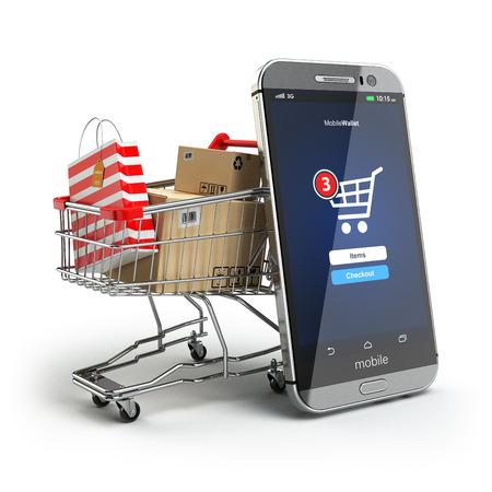 shopping: Khái niệm mua sắm trực tuyến. Điện thoại di động hoặc điện thoại thông minh với giỏ và hộp và túi. 3d